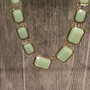 NWT J. Crew mint/seafoam w/ gold plating necklace